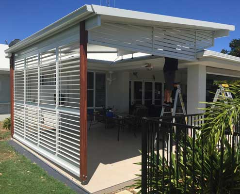 External blinds white louvres