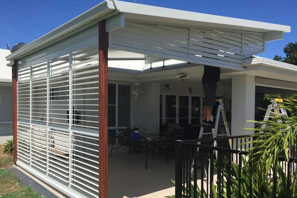 White alumimium external awning louvres