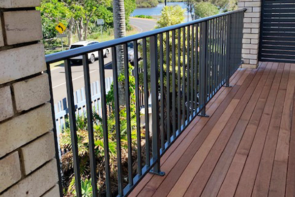 Powder coated aluminium balustrades with timber decking