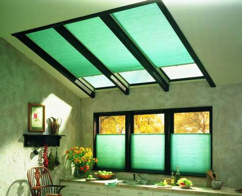 Cellular shades can be custom fit to any shaped window including skylights