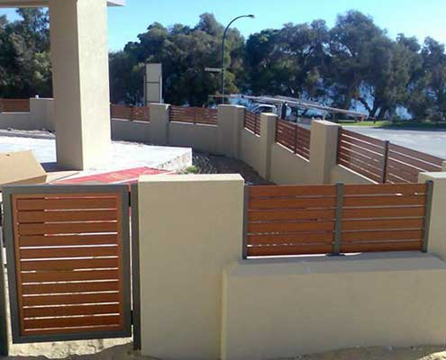 Jarrah wood finish of hometec screenloc gates and fencing