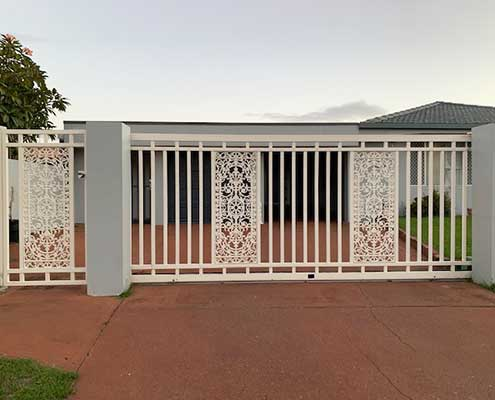 Wrought iron lace finish ins white powder coated aluminium.