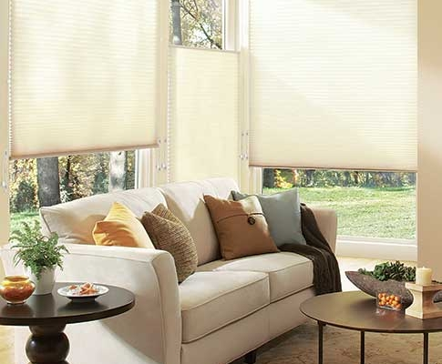 Grey top down bottom up cellular shades with honeycomb pockets