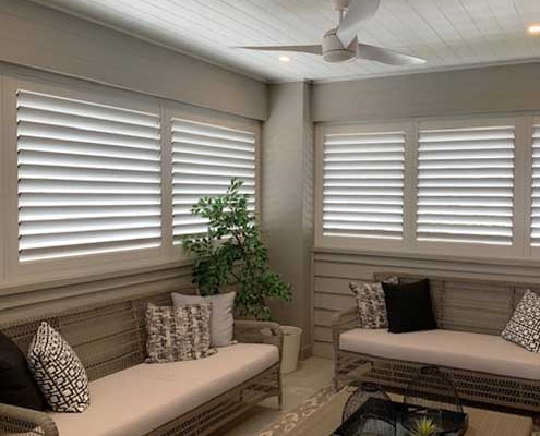Cream shutters in enclose verandah
