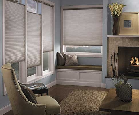 Honeycomb cellular shades in grey fabric