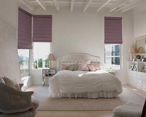 roman blinds bedroom pink fabric