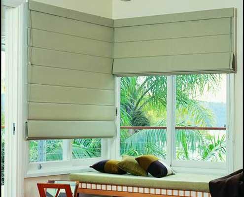 Roman blinds light green fabric