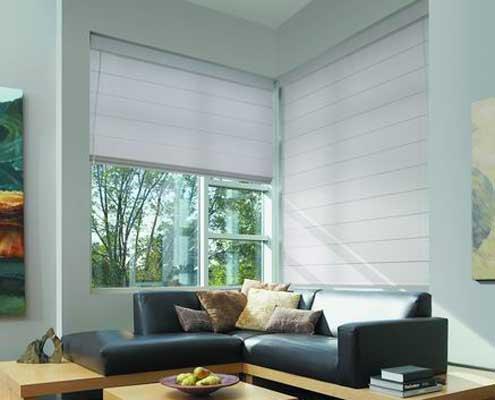 Roman blinds grey fabric