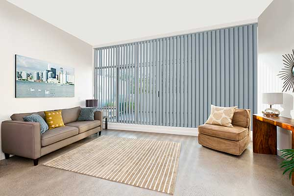 Grey Vertical blind for expansive glass windows and doors in lounge room