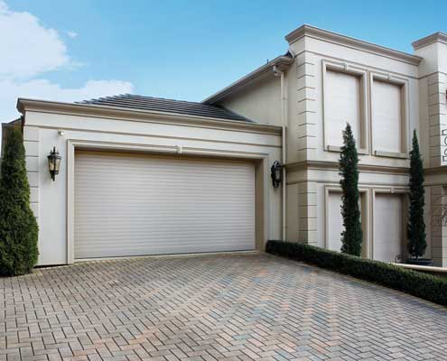 roller shutters on windows and garage
