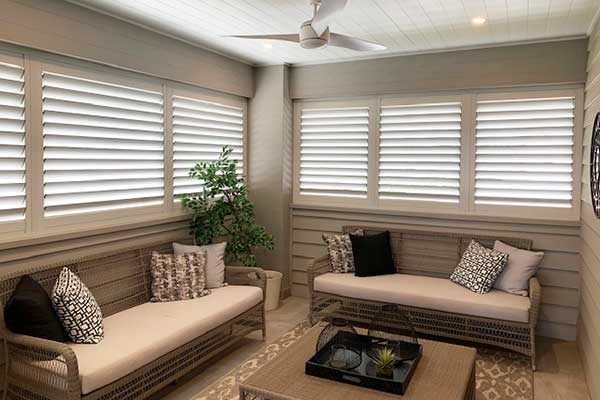Timber Shutters in off white colour for windows in enclosed verandah