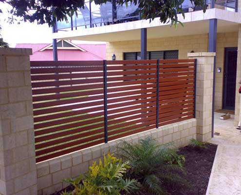 Hometec Screenloc gate in eurowood finish made from strong and durable aluminium no maintenance