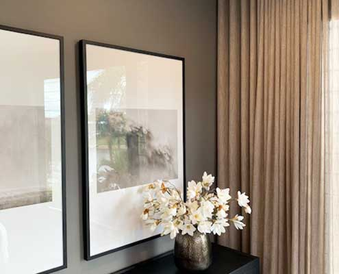 Sheer curtains designer effect in the lounge room