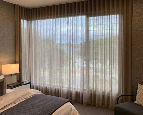 Sheer curtains in the bedroom coffee colour soft fabric