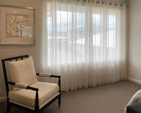 curtain rod privacy sheers white fabric from Maurice Kain