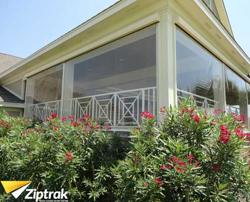 Clear Ziptrack awnings plastic wind protection
