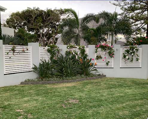 slatted garden fencing aluminium finish cottage look