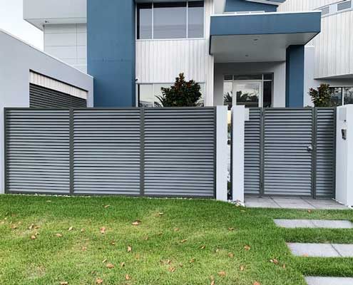 Hometec grey gate and fence architectural aluminium powder coat finish