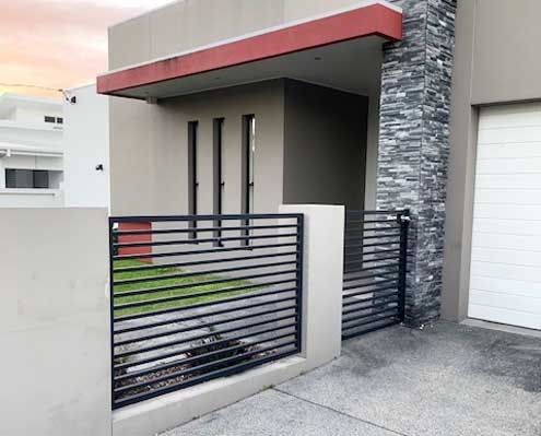 louvred open gate black powder coat finish durable aluminium